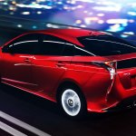 2016 Toyota Prius rear three quarter North American specification official image