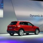 2016 VW Tiguan rear three quarter left at the Volkswagen Group Night 2015 in Frankfurt