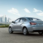 Lada Vesta rear three quarters left studio image