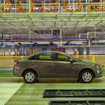 Lada Vesta side on the production line studio image