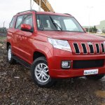 Mahindra TUV300 front three quarter red first drive review