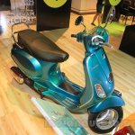 Vespa VX front top turquoise green at Nepal Auto Show 2015