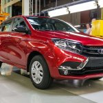 Lada XRAY hatchback front three quarter at the production plant