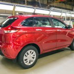 Lada XRAY hatchback rear three quarter at the production plant