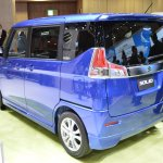Suzuki Solio Hybrid rear three quarter at the 2015 Tokyo Motor Show