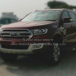 2016 Ford Endeavour front three quarter snapped at an Indian dealership