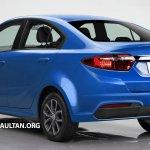 2016 Proton Persona (Iriz-based sedan) rear three quarter Rendering