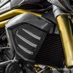 Mahindra Mojo black radiator close up review