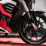 Mahindra Mojo red and white front alloy wheel review