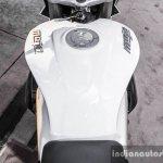 Mahindra Mojo white fuel tank top view review