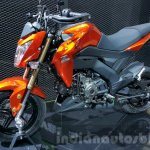 Kawasaki Z125 Pro orange front quarter at 2015 Thailand Motor Show