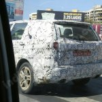 Production-spec Tata Hexa rear end spotted in Pune