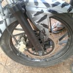 TVS Apache 200 fork and disc brake spied up-close