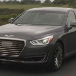 2017 Genesis G90 front three quarters on road