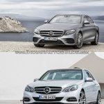 Mercedes E Class (W213) vs Mercedes E Class (W212) front quarter Old vs New
