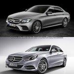 Mercedes E Class (W213) vs Mercedes E Class (W212) front three quarter Old vs New