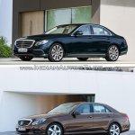 Mercedes E Class (W213) vs Mercedes E Class (W212) front three quarter low Old vs New