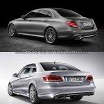 Mercedes E Class (W213) vs Mercedes E Class (W212) rear three quarter Old vs New