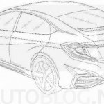 2016 Honda Civic hatchback rear three quarter leaked patent drawings