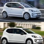 2016 VW Up! front three quarters in motion old vs. new