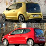 2016 VW Up! rear three quarters left side old vs. new