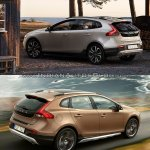 2016 Volvo V40 Cross Country (facelift) rear three quarters old vs. new