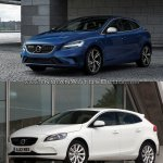 2016 Volvo V40 (facelift) front three quarters left side old vs. new