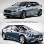 2016 Volvo V40 (facelift) front three quarters old vs. new