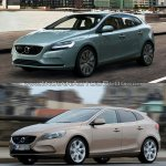 2016 Volvo V40 (facelift) front three quarters second image old vs. new