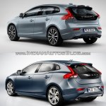 2016 Volvo V40 (facelift) rear three quarters old vs. new