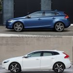 2016 Volvo V40 (facelift) side profile old vs. new