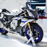 2016 Yamaha R1M front quarter at Auto Expo 2016