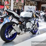 2016 Yamaha R1M rear quarter at Auto Expo 2016