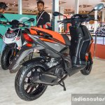 Aprilia SR 150 Black rear quarter at Auto Expo 2016