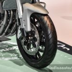 Benelli TNT 600GT Nero (black) alloy wheel at Auto Expo 2016