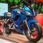 Hero HX250R blue front quarter at Auto Expo 2016