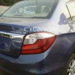 Honda Amaze facelift Blue rear quarter spied