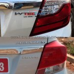Honda Amaze facelift vs current Honda Amaze taillamp