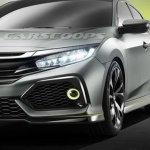 Honda Civic Hatchback Prototype concept front fascia leaked image