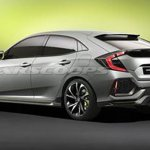 Honda Civic Hatchback Prototype concept rear three quarters leaked image