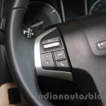 Isuzu D-Max V-Cross steering mounted audio control detail at Auto Expo 2016