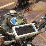 Mahindra Mojo Scrambler Concept phone mount handlebar at Auto Expo 2016