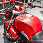 Mahindra Mojo accessories matte red handlebar add-ons at Auto Expo 2016