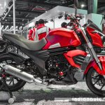 Mahindra Mojo accessories matte red side at Auto Expo 2016