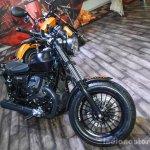 Moto Guzzi V9 Bobber fork at Auto Expo 2016