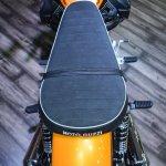 Moto Guzzi V9 Roamer seat upholstery at Auto Expo 2016