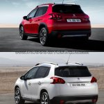 Peugeot 2008 rear three quarters left side old vs. new