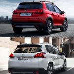 Peugeot 2008 rear three quarters old vs. new