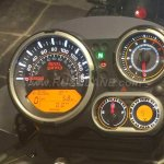 Royal Enfield Himalayan black instrument console at a dealership