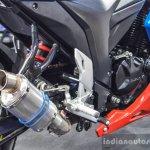 Suzuki Gixxer Cup race bike exhaust at Auto Expo 2016